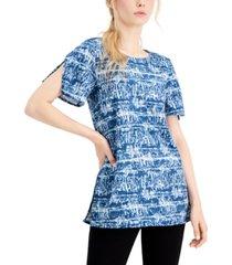alfani abstract-print tunic top, created for macy's