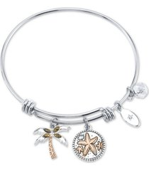 """unwritten marcasite palm tree & """"life's a beach ride the waves"""" charm bangle bracelet in silver-plate stainless steel and rose gold-tone"""