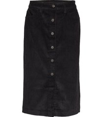 corduroy button-front midi skirt knälång kjol svart gap