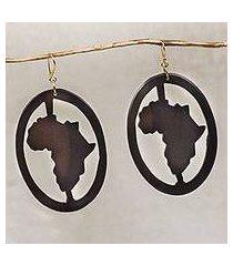ebony wood dangle earrings, 'africa encircled' (ghana)