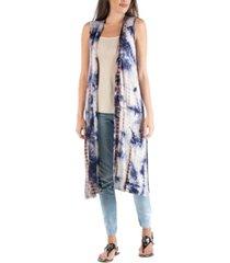24seven comfort apparel bohemian tie dye sleeveless long cardigan with side