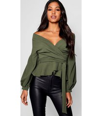 bell sleeve wrap over top, khaki