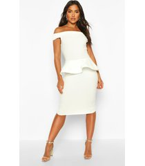 bardot peplum detail midi dress, ivory