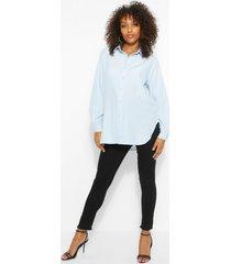 maternity oversize cotton button through shirt, pale blue