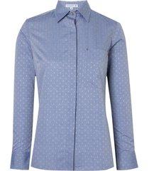 camisa dudalina manga longa tricoline maquinetado fio tinto feminina (estampado, 46)
