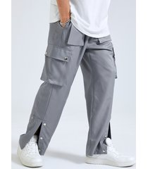 hombre botón liso diseño abertura pernera recta casual carga pantalones