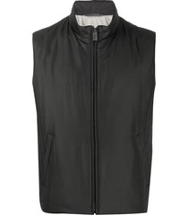 canali quilted high collar gilet jacket - black