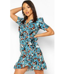 floral puff ruched sleeve ruffle tea dress, blue