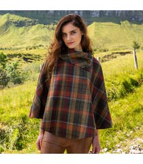 the mucros poncho brown check one size