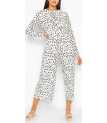 tall polka dot wrap waist culotte jumpsuit, white