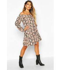 snake print tie front smock dress, taupe