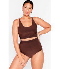 womens slink-ing of you plus bralette and panty set - chocolate