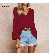 zanzea de las señoras de las tapas ocasionales de la manga larga suelta sólido camisa de la blusa del puente plus -rojo