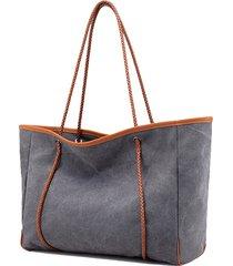 sacchetti di spalla borsa di grande capacità della tela di canapa all'aperto per le donne