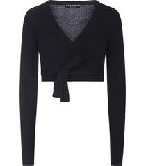 dolce & gabbana cropped wraparound cardigan - black