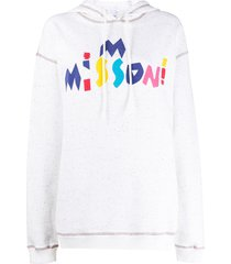 m missoni stitched detail hoodie - white