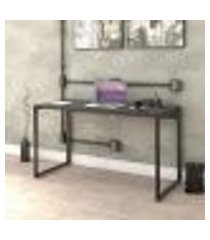 mesa escrivaninha industrial 135cm trevalla kuadra me135-e10 preto onix
