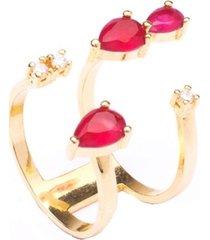 anel boca santa gotas em rubi flutuante - ouro amarelo