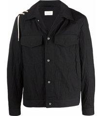 craig green lace-up cotton shirt jacket - black