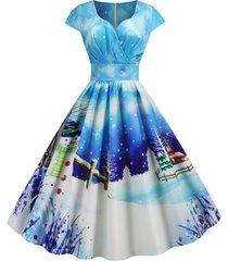 christmas castle santa claus tree print surplice dress