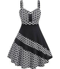 plus size criss-cross bicolor patchwork dress