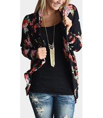 cárdigan negro con estampado floral frontal abierto