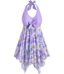 plus size halter sunflower print handkerchief tankini swimsuit