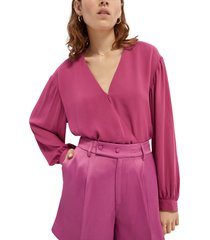 women's scotch & soda drapey wrap top, size x-small - purple