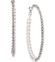 "thalia sodi silver-tone large crystal & imitation pearl hoop earrings, 2.75"", created for macy's"