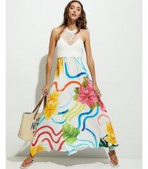 long dress flowers - white - l