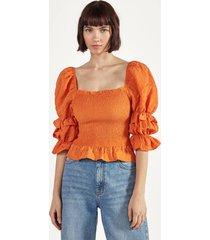 wijde blouse met elastisch garen
