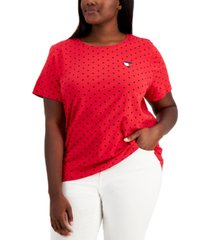tommy hilfiger plus size embroidered heart logo t-shirt