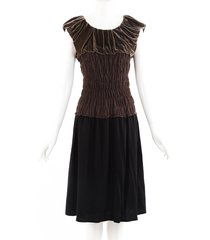 louis vuitton brown black velvet ruched dress black/brown sz: m