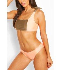 colour block crop bikini, orange