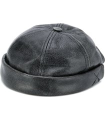 junya watanabe calf leather round cap - black