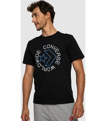 polera converse mc sneaker table tee negro - calce regular