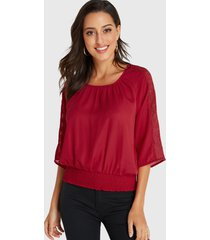 yoins blusa roja con cintura de fruncido adornada con encaje de ganchillo