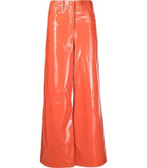 remain patent wide-leg trousers - red