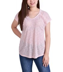 ny collection petite cap sleeve burnout v neck top