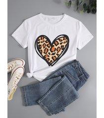 basics corazón camiseta estampada cuello camiseta de manga corta
