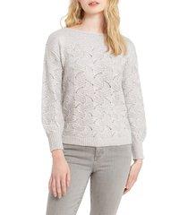 women's nic+zoe all that glitters sweater, size xx-large - grey