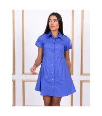vestido miss misses chemise com bolsos azul