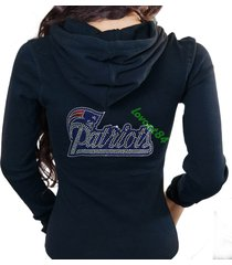 new england patriots bling jersey rhinestone zipper hoodie sweater