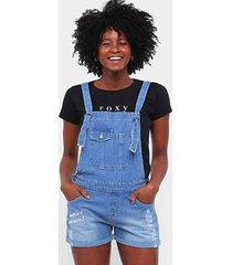 jardineira jeans roxy rush