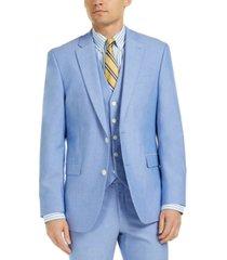 tommy hilfiger men's modern-fit flex stretch chambray suit jackets