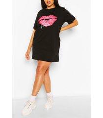 plus j'adore t-shirtjurk met lippen, zwart