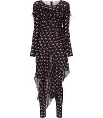 marine serre moon print jumpsuit dress - black
