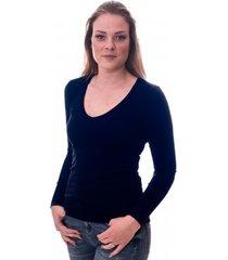 claesens women t-shirt v-neck l/s navy blue ( 8011 )