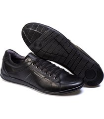 sapatenis couro tchwm shoes masculino elegante moderno preto - kanui