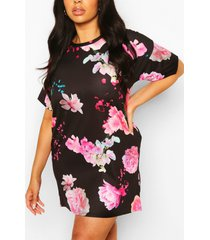 plus floral oversized tshirt dress, black